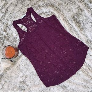Maurices Deep Purple Lace Racer Back Tank Top